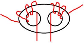 Fig. 2: Dibujo que ilustra el sentido de los enrollados y la cantidad de vueltas