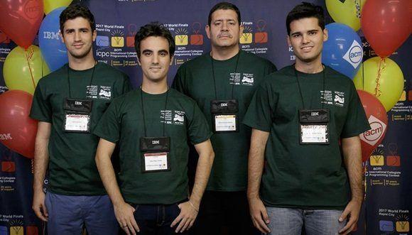 Imagen 2. Equipo cubano en la final de ACM-ICPC (2017