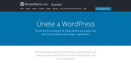 Fig. 1. Plataforma de WordPress en español.