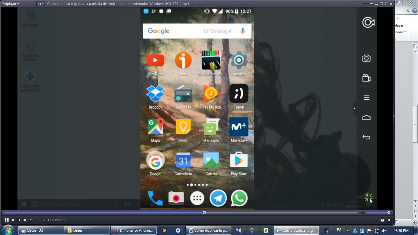 Figura 3. Vista en pantalla completa del móvil en la PC. Revista Tino