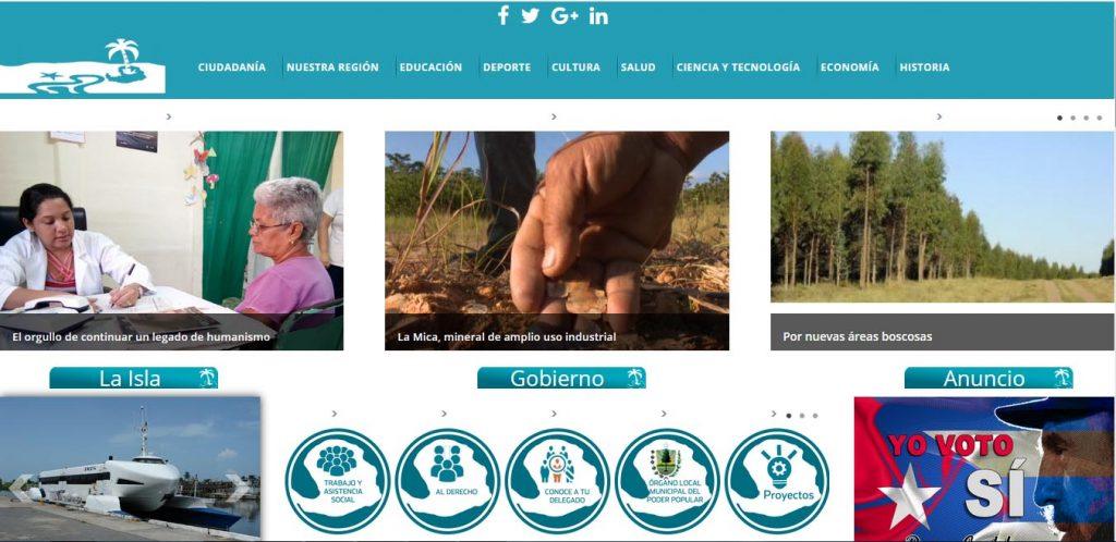 Sitio Web del Portal del ciudadado Isla de la Juventud - Revista Tino