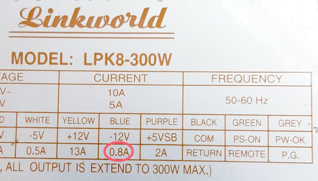 Figura. 2: Datos eléctricos de la fuente marca Linkworld, modelo LPK8-300W. - #RevistaTino