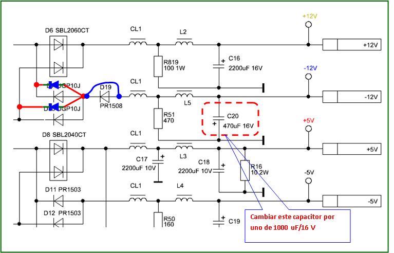 Figura. 3: Parte del diagrama eléctrico de la fuente utilizada para el PoE. - #RevistaTino
