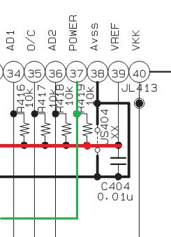 Fig. 1: La línea roja va conectada al Vcc (3.3 V); la verde, al botón POWER. - #RevistaTino