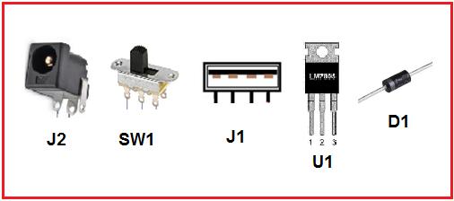 Fig. 5: Aspecto físico de los componentes empleados en el circuito del cargador portátil -#RevistaTino