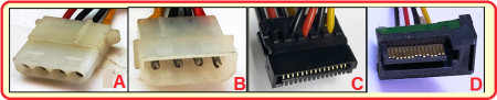 Fig. 1. Tipos de conectores. A, Molex hembra; B, Molex macho; C, SATA hembra; D, SATA macho. - #RevistaTino