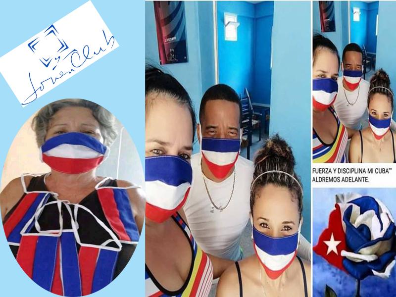 Fig. A la izquierda  Olga Hernández Albariño autora de los nasobucos, el resto trabajadores de los Joven Club.  - #RevistaTino