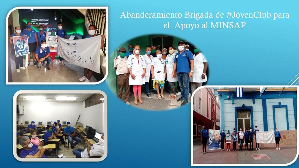 Fig. 3. Abanderamiento de la brigada de los Joven Club por el enfrentamiento a la COVID-19. - #RevistaTino
