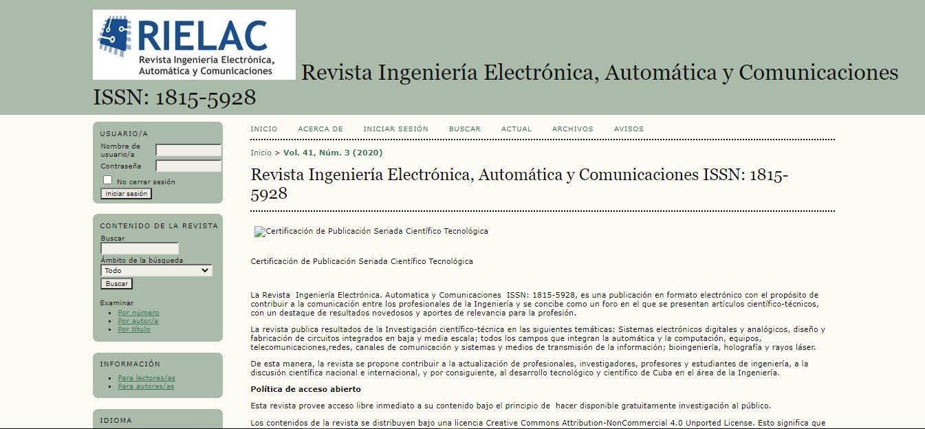 Revista de Ingeniería, Electrónica, Automática y Comunicaciones - @RevistaTino